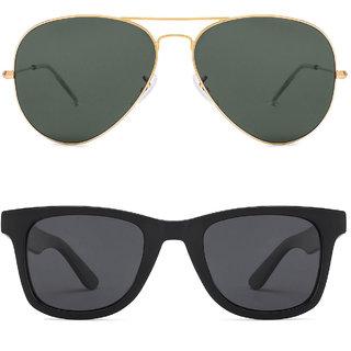 David Martin Golden  Green Aviator Sunglass + Free Black Wayfarer (UV Protected) Sunglass
