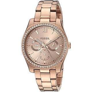 Fossil Analog Rose Gold Dial Womens Watch-ES4315