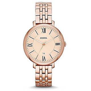 Fossil Analog Rose Gold Dial Womens Watch - ES3435