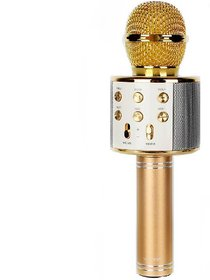 IBS Portable WS-858 Wireless Bluetooth Karaoke Singing Recording Mic Party Speaker Gold Microphone