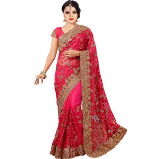 Designer Bahu Pink Net Saree