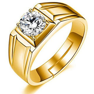 Om Jewells Classic Gold Plated Adjustable Finger Ring made with Cz Stones for Men FR1000925