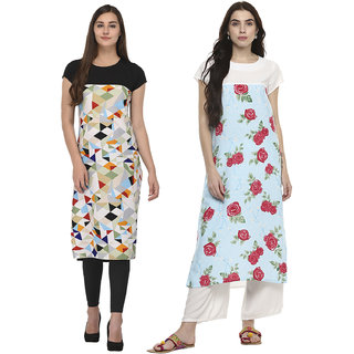 Meia Floral Printed Crepe Stitched Kurti for womens- Combo