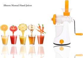 Bluzon Premium Manual Hand Juicer For Fruits and Vegetable (Orange, White)