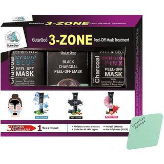 GutarGoo 3 - Zone Charcoal Peel Off Multimasking Treatment (T-Zone Black, S-Zone Blue, Eye-Zone Pink)  No SLES
