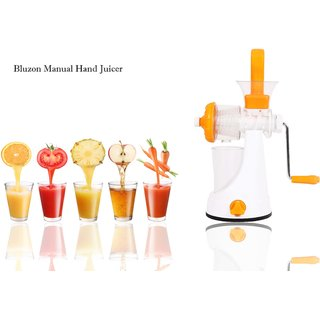 Bluzon Premium Manual Hand Juicer For Fruits and Vegetable (Orange, White)