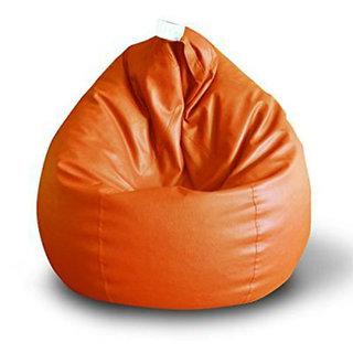 Sky Homes 1Pc. Rexin XL Size Orange Color Bean Bag Sofa Chair (Without Beans)