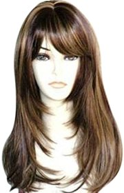 PARAM Brown Human hair With Golden Highlight Hair Wig