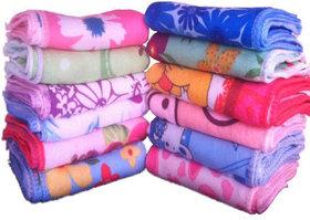 Fashion Forest Cotton 200 GSM Face Towel Set of 12 (Size 25 x25 cm) (Multicolor)