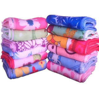 Fashion Forest Cotton 200 GSM Face Towel Set of 12 (Size 25 x25 cm) (Multicolor)