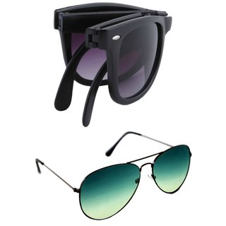 978a2e27e29 Derry Combo of Black Folding Wayfarer Full rim Aviator ( UV Protection ) Sunglasses Non-