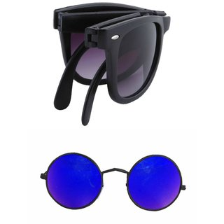 Derry Combo of Black Folding Wayfarer and  Blue Round ( UV Protection )Sunglasses Non-Metal