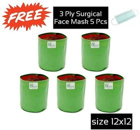 Pack of 5 HDPE Green Grow bag (Size 12 x 12 Inch) by A1ezone