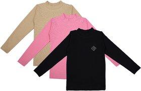NEUVIN Full Sleeve Girl's Tshirt (Pack of 3)_BK_PK_BG_1-2Y