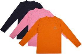 NEUVIN Full Sleeve Girl's Tshirt (Pack of 3)_ORG_PK_N-BL_1-2Y