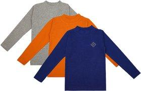 NEUVIN Full Sleeve Girl's Tshirt (Pack of 3)_BL_ORG_GRY_1-2Y