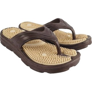 Nonesuch DzVR Brown Unisex Acupressure Health Care Slipper  Flip Flops