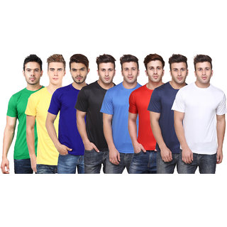 Ketex Men's Multicolor Solid Round Neck T-Shirt (Pack of 8)