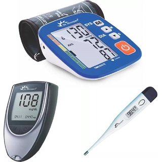 Dr Morepen BP02 XL BP Monitor and Glucometer BG 03 with 25 Strips and Digital Thermometer Combo
