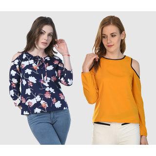 3d232428f18794 Buy Klick2Style Stylish Trendy Cold Shoulder Tops Pack of 2 Online - Get  55% Off