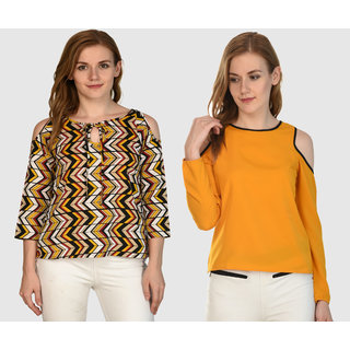 f214dd40383915 Buy Klick2Style Stylish Trendy Cold Shoulder Tops Pack of 2 Online ...