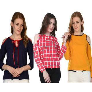 Klick2Style Stylish Trendy Cold Shoulder Tops  Pack of 3