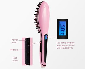 Fast Hair Straightener HQT-906 Comb Brush Lcd Screen Flat Iron Styling (Light Pink )