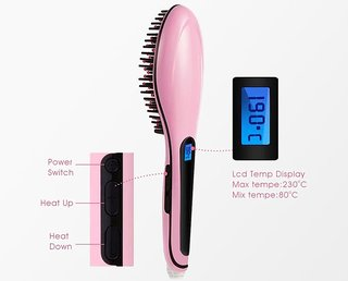 Fast Hair Straightener HQT-906 Comb Brush Lcd Screen Flat Iron Styling (Light Pink )