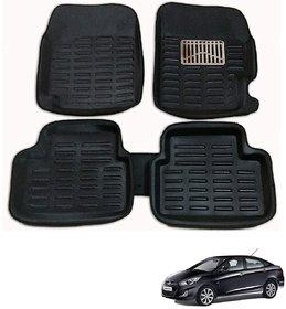 Auto Addict Car 3D Mats Foot mat Black Color for Hyundai Verna Fluidic