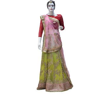 Indians Boutique Designer Lehenga (Green,Pink)