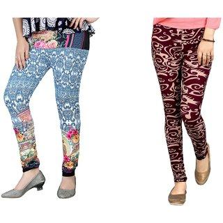DeVry  Fresh Take  New Desings Printed  Multi colours  Leggings (Pack Of 2 Pc Set)DRY542