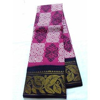 Pink Bengal Cotton Saree Zari Border Chenderi New Saree Double Side Border Uppada Cotton Saree