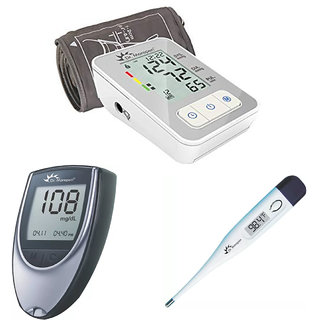 DR MOREPEN AUTOMATIC BP MONITOR BP-03 + GLUCOMETER BG-03 + 25 STRIPS + DIGITAL THERMOMETER HEALTH APPLIANCES COMBO