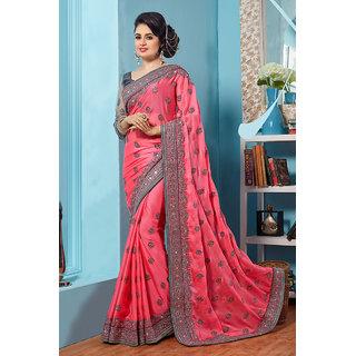 Designer Bahu Pink Color Chinnon Chiffon Designer Saree