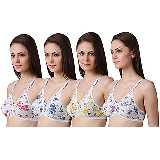 DeVry Multicolor Non- Padded  Printed  Desing Bra Pack of 4 Pc Combo Set