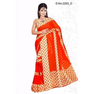 Manish Distributors Orange Satin Patta Printed Sarees