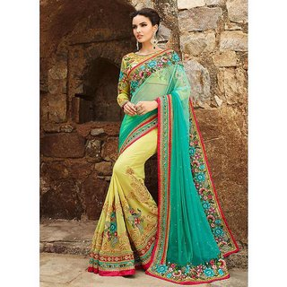 Women Embroidered Designer Turquoise Yellow Georgette Saree by Tiana Creation