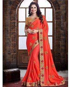 Designer Bahu orange Color Paper Silk Saree