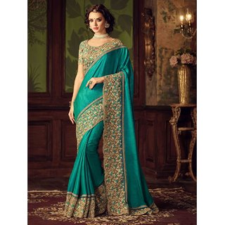 Designer Bahu Green Color Paper Silk Designer Saree