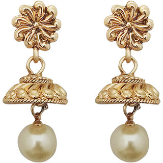JewelMaze Gold Plated Pearl Jhumki Earrings-1307631