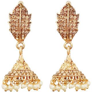 JewelMaze Gold Plated Brown Austrian Stone Jhumki Earrings-1307632