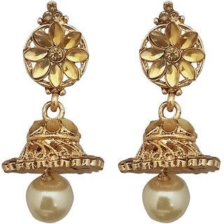 JewelMaze Brown Kundan Gold Plated Pearl Jhumki Earrings-1307633