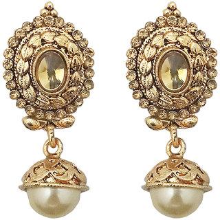JewelMaze Brown Austrian Stone Gold Plated Peral Jhumki Earrings-1307636
