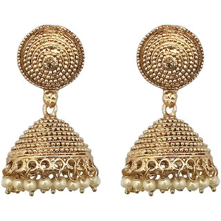 JewelMaze Brown Austrian Stone Gold Plated Jhumki Earrings-1307637