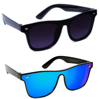 cd93f77db96 Buy TheWhoop Combo UV Protected New Stylish Mirror Blue And Black Goggle Wayfarer  Sunglasses For Men