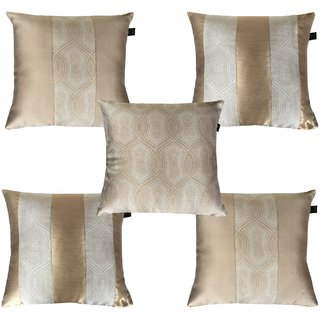 Lushomes Jacquard Gold Design 1 Cushion Cover set for any celebration.(Pack of 5, 40 x 40 cms)