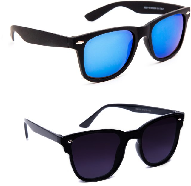 76f8d58f6f9c Buy TheWhoop Combo UV Protected New Stylish Mirror Blue And Black Goggle  Wayfarer Sunglasses For Men, Women , Girls , Boys Online @ ₹399 from  ShopClues
