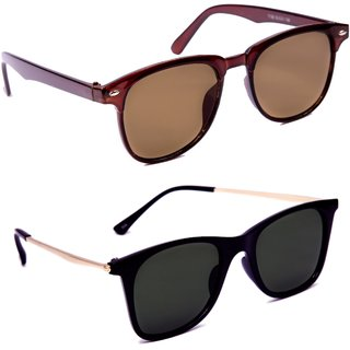 7a1d5dcfad9 Buy TheWhoop Combo UV Protected New Trendy Brown And Black Golden Goggle  Wayfarer Sunglasses For Men