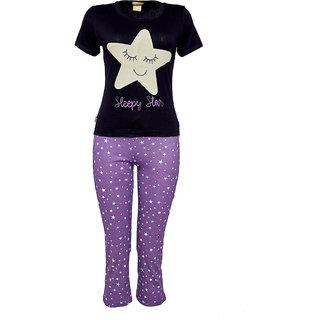 Velvet by night Black Printed Hosiery Top  Pyjama Set For Girls