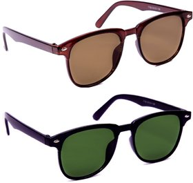 TheWhoop Combo UV Protected New Trendy Brown And Green Goggle Wayfarer Sunglasses For Men, Women